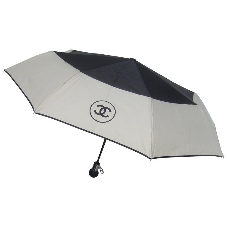 Chanel Stylish Black and Tan Nylon Umbrella in Chanel Box 1