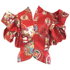 Christian Dior Red Silk Brocade Chinese Inspired Jacket Top