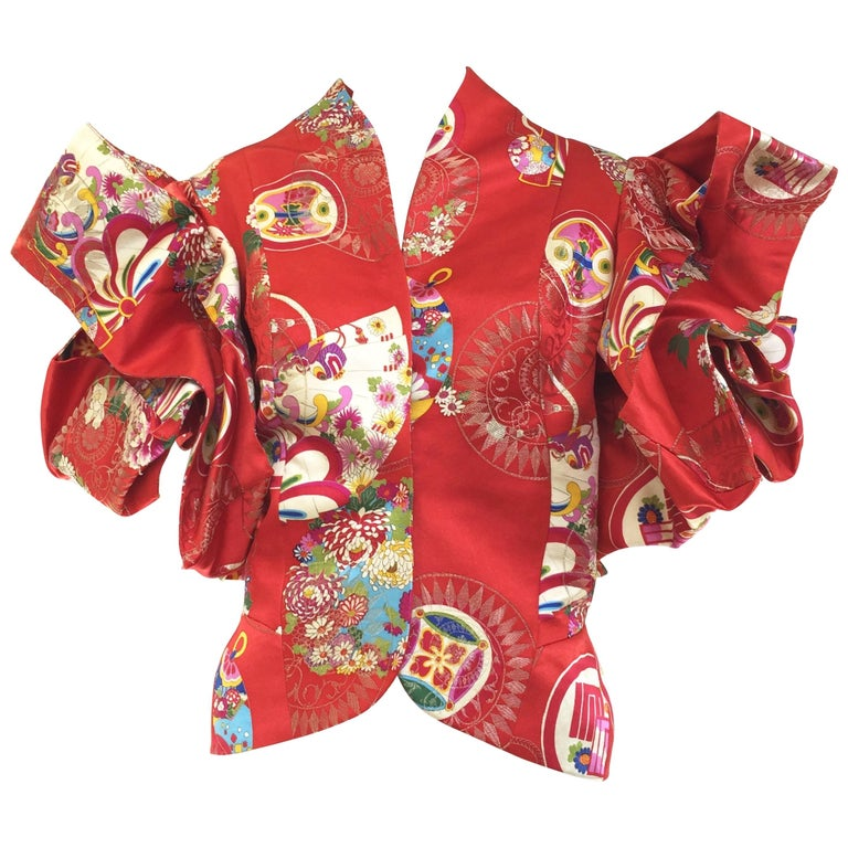 John Galliano for Christian Dior red silk brocade Chinese-inspired jacket, 1990s, offered by Sielian's Vintage Apparel