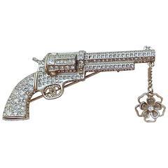 MINT Chanel ✿*゚PARIS-DALLAS Beautiful Craftsmanship Jewelled Gun Pistol Brooch