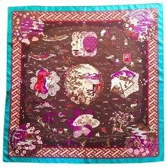 "Hermes ""Ballade De Heian"" Brown Silk Scarf by Natsuno Hidaka"