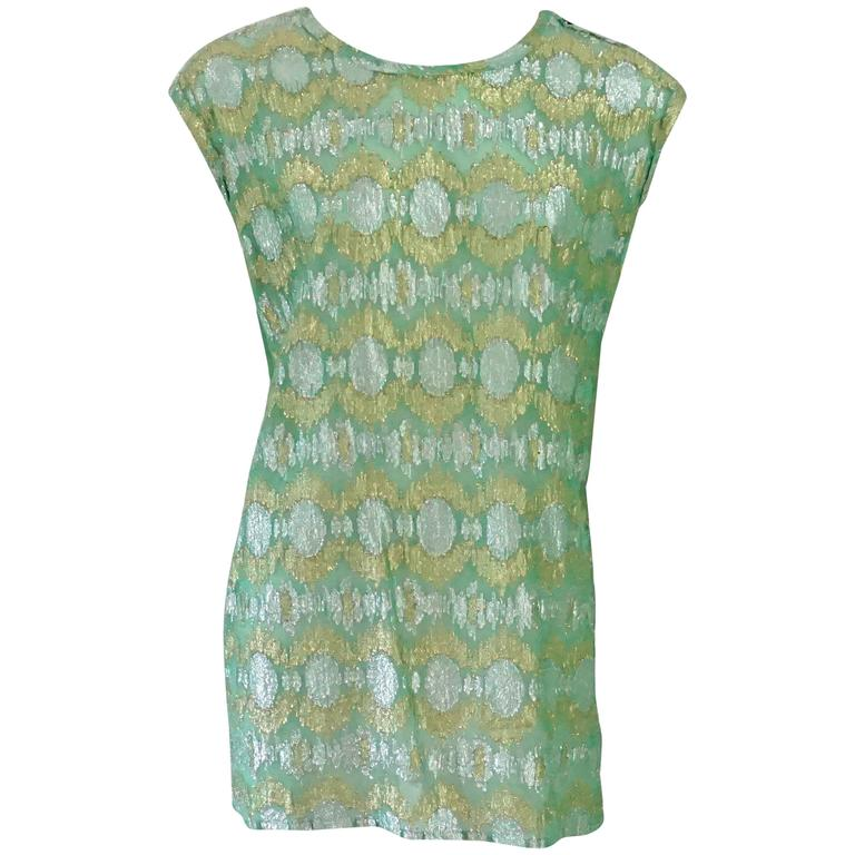 Lanvin Seafoam Green & Gold Silk Lame Top - 40