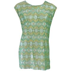 Lanvin Seafoam Green & Gold Silk Lame Top - 40