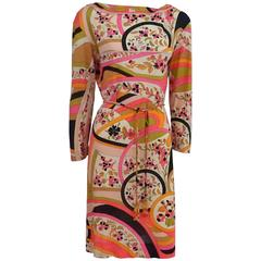 Emilio Pucci Multi Silk Jersey Geometric Print Dress with Belt - 8 - 1960's
