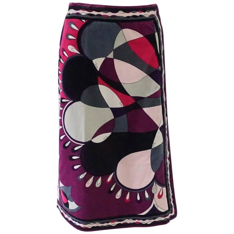Emilio Pucci Eggplant & Multi Velvet Printed Wrap Skirt - 10 - 1960's