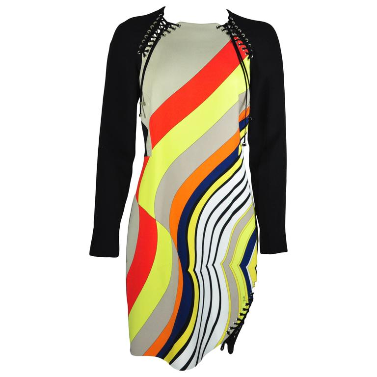 Emilio Pucci Multi-color Print Long Sleeves Lace up Knee Length Dress New