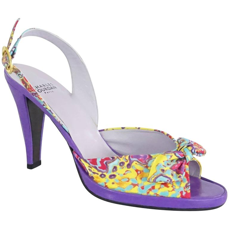 Charles Jourdan Purple & Multi Platform Slingbacks - 8.5 1