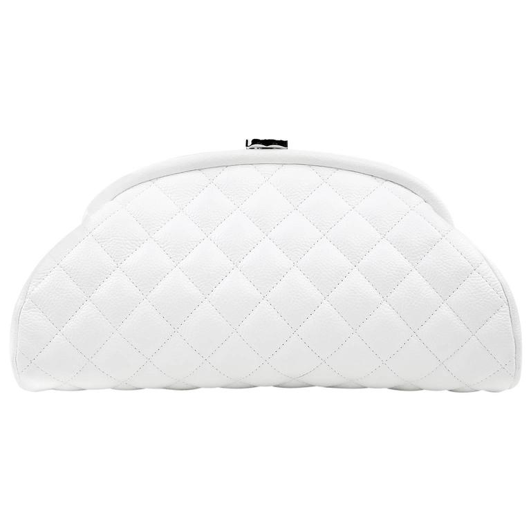 Chanel White Caviar Leather Timeless Clutch For Sale