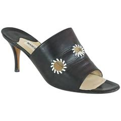 Manolo Blahnik Black Leather Mules with White Stitched Cutouts - 37