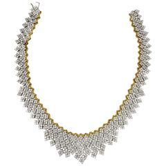 Fabulous CZ Crystal Gilt Sterling Silver Flexible Necklace