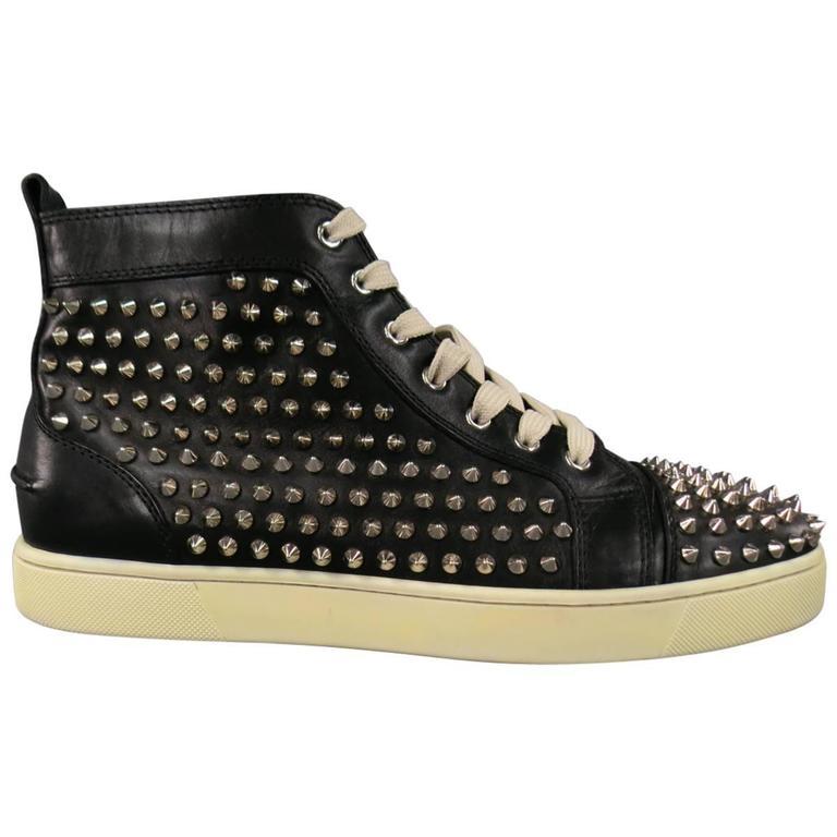 a10e5300158 Men's CHRISTIAN LOUBOUTIN Size 11 Black Leather Silver Spikes LOUIS FLAT  Sneaker
