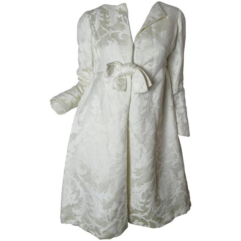 1960s Teal Traina Off White Dress 1