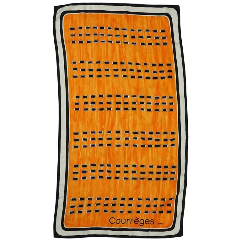 Courreges Orange, Black & White Silk Printed Long Scarf - 1980's