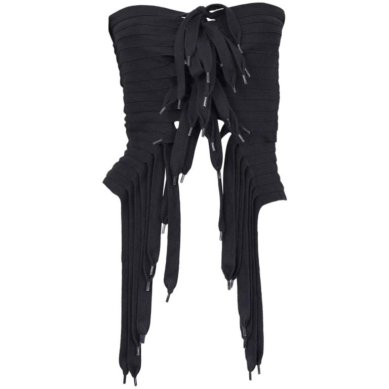 Maison Martin Margiela Black Laces Top 2003 For Sale