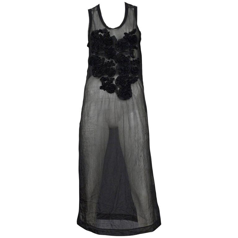 Comme Des Garcons Black Sheer Ruffle Applique Dress 1994