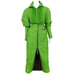 JeanPaul Gaultier Neon Green Quilted Ensemble 1995