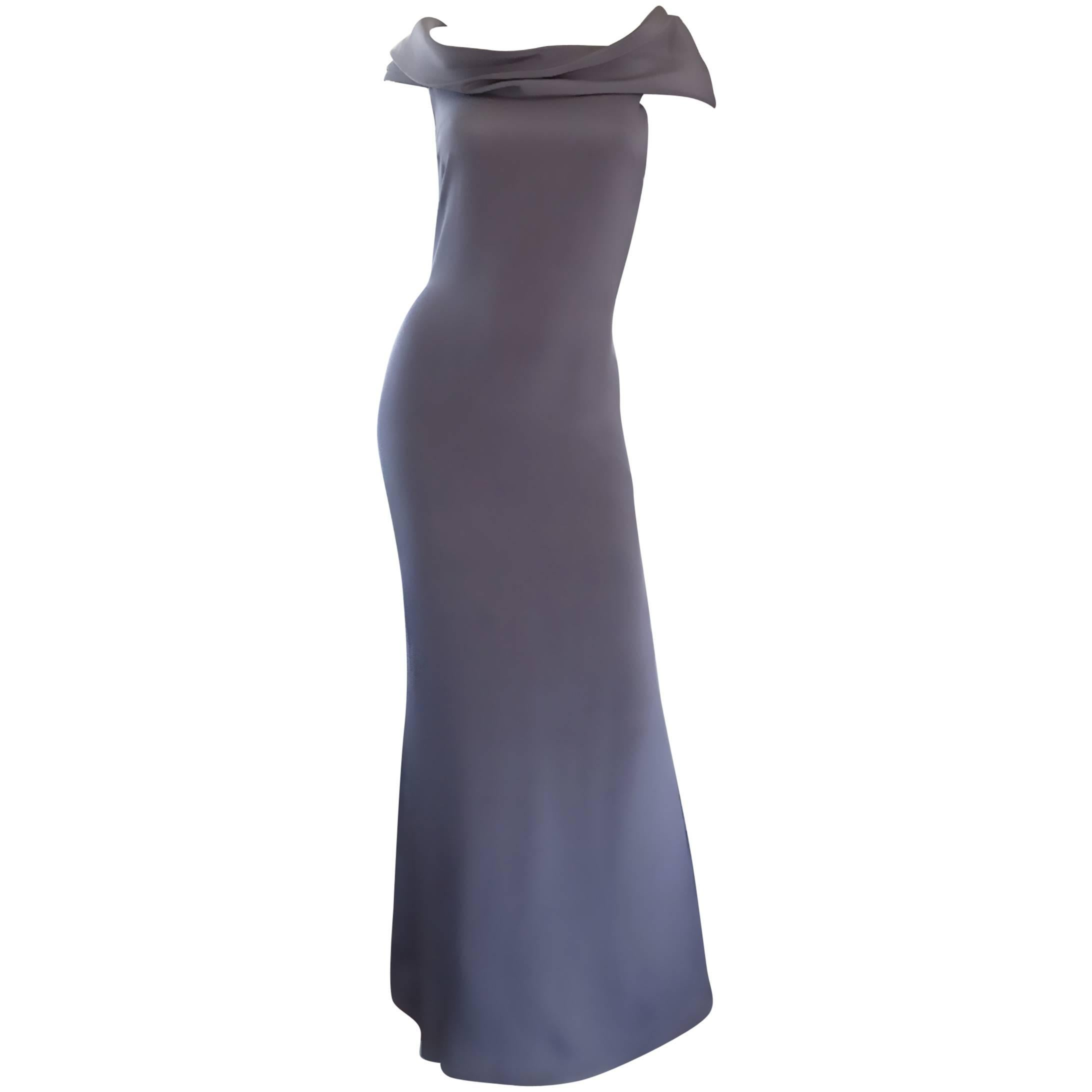 1990s Bill Blass Vintage French Dove Gray Off Shoulder Silk Jersey Evening Gown