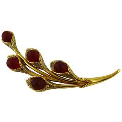 Kenzo Vintage Gold Toned and Red Glass Cabochons Floral Brooch