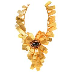 Vilaiwan Gold Tone Tab Flower Statement Necklace