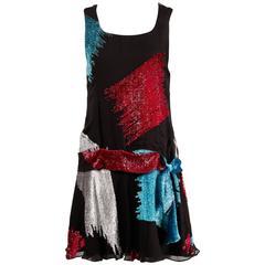 The Silk Farm by Icinoo Vintage 1980s Drop Waist Metallic Burnout Flapper Dress