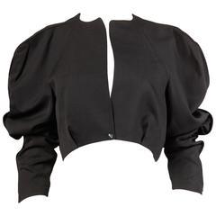 Thierry Mugler 1980s Vintage Black Avant Garde Balloon Sleeve Jacket