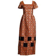 Unworn with Tags 1960s Vintage Metallic Gold Brocade Maxi Dress with Velvet