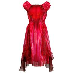 Celine Sheer Silk Orchid Flower Dress in Fuchsia Pink