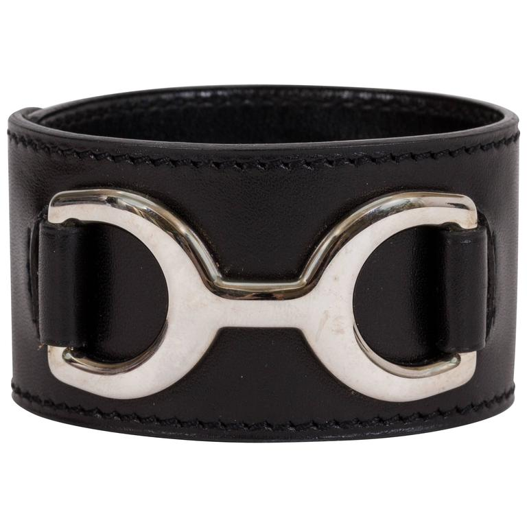 Hermès Black Mors Cuff Bracelet For Sale