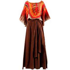 1970s I. Magnin Vintage Hand Painted Silk Tribal Print Maxi Dress with Sash