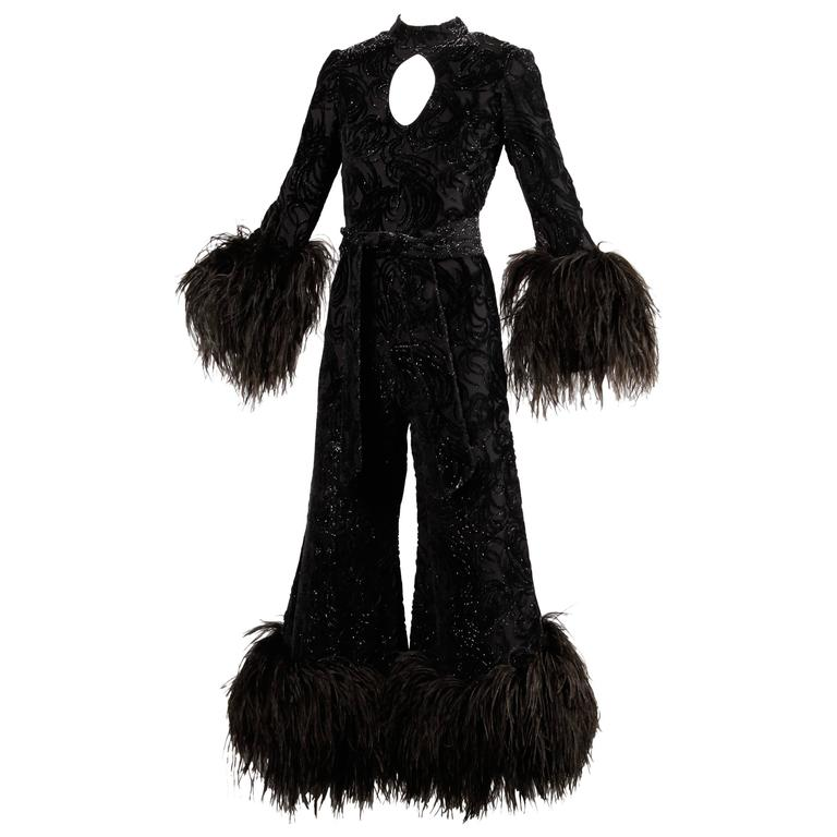 1970s Lillie Rubin Metallic Burnout Velvet Jumpsuit with Ostrich Feather Trim For Sale