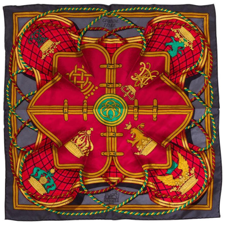 Hermès Red & Gray Grande Tenue Pochette Scarf For Sale