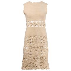 1970s Wool Hand Crochet Dress with Cut Out Midriff