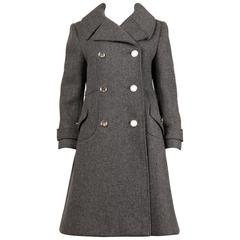 Bonwit Teller Vintage 1960s Heavy Gray Wool Military Inspired Coat