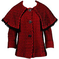 1960s Gino Paoli Vintage Red + Black Wool Knit Sweater Jacket with Cape