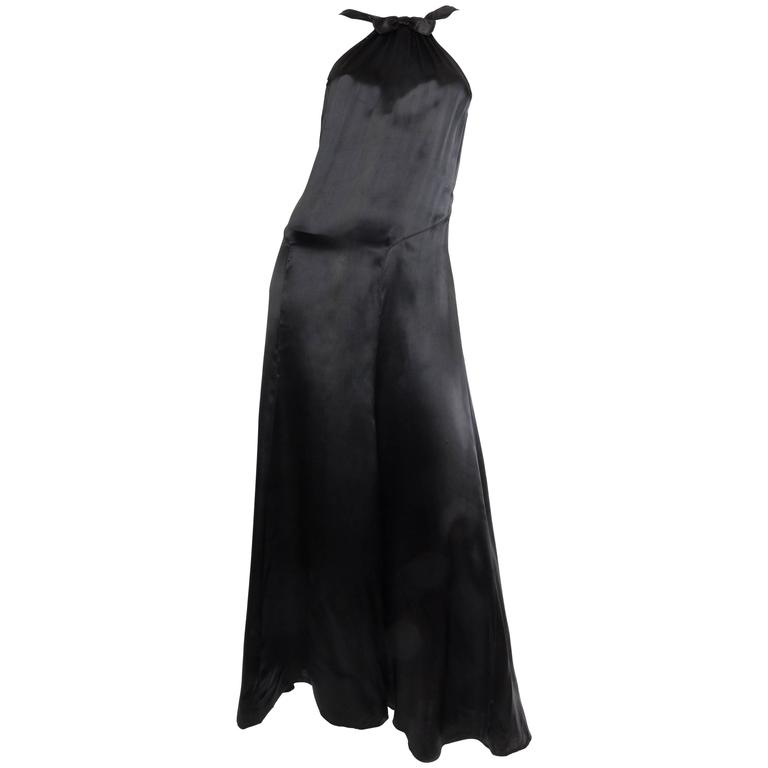 1930s Black Satin Gown For Sale at 1stdibs