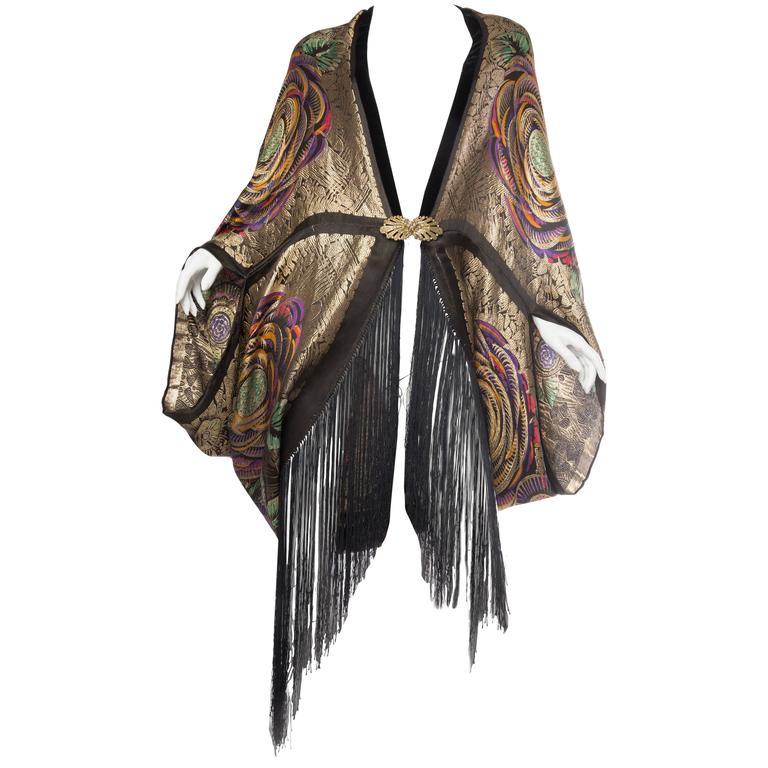 Phenomenal 1920s Lamé Cocoon Coat with Fringe 1