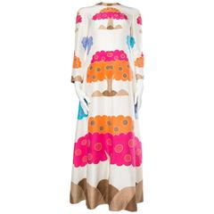 Very Fine Hand-painted and Finished Silk Dress from the late 1960s