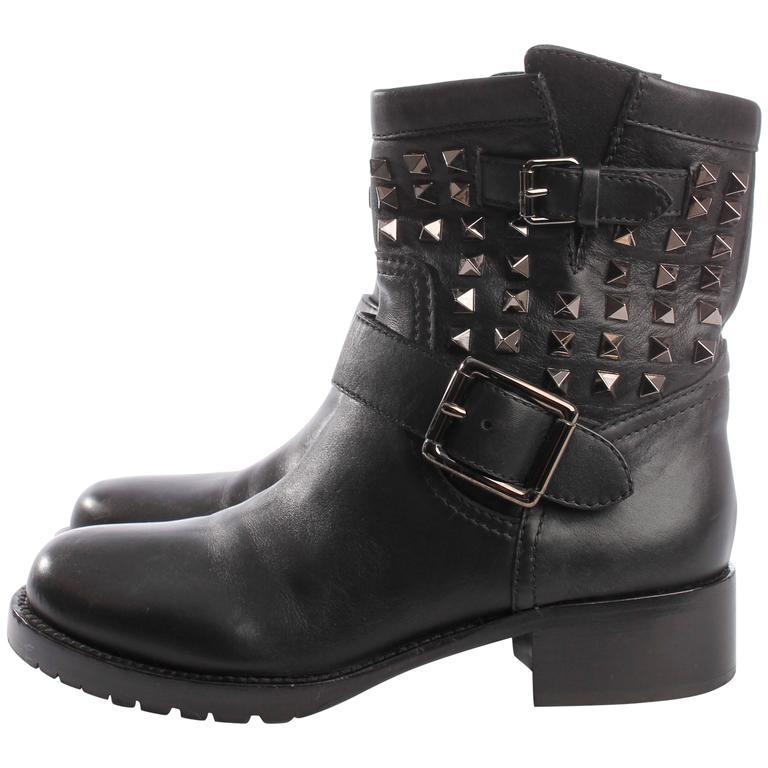 09aca067233f4 Valentino Rockstud Biker Boots - black at 1stdibs