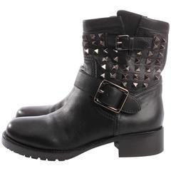 Valentino Rockstud Biker Boots - black