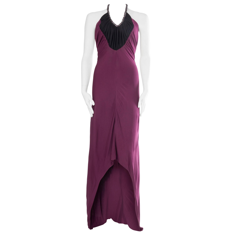 1970S LORIS AZZARO Black & Purple Viscose Jersey Slinky Disco Trained Gown