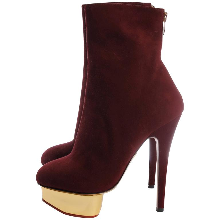 Charlotte Olympia Ankle Boots - burgundy red suede
