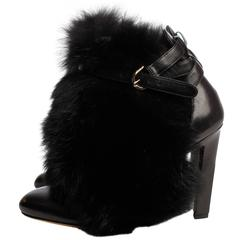 Brian Atwood Majoy Fox Fur Leather Booties - black