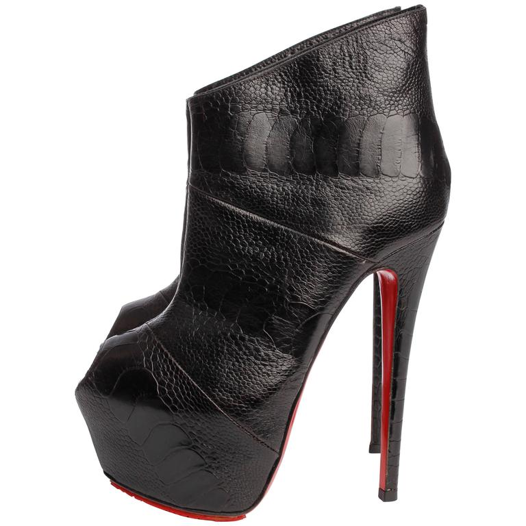 Louboutin Boudubou Peep-toe Ankle Boots - black leather / croco print 1