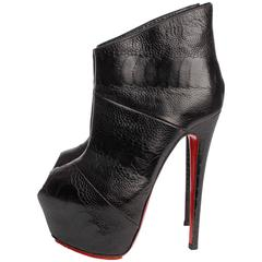 Louboutin Boudubou Peep-toe Ankle Boots - black leather / croco print