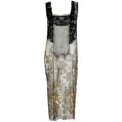 1920's French Metallic-Gold & Black Beaded Sequin Lame Lace Deco Flapper Dress
