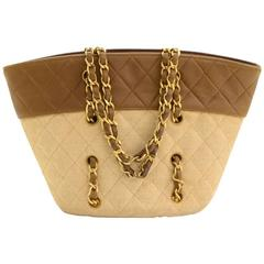 Vintage Chanel Brown Quilted Leather x Canvas Mini Bucket Hand Bag