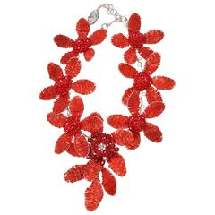 Vilaiwan Red Beaded Brooch Wire Necklace