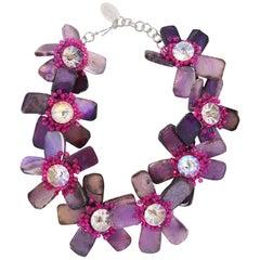 Joe Vilaiwan Fire Polished Amethyst Flower Necklace