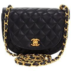 """Vintage Chanel 7"""" Navy Quilted Leather Shoulder Flap Mini Bag"""