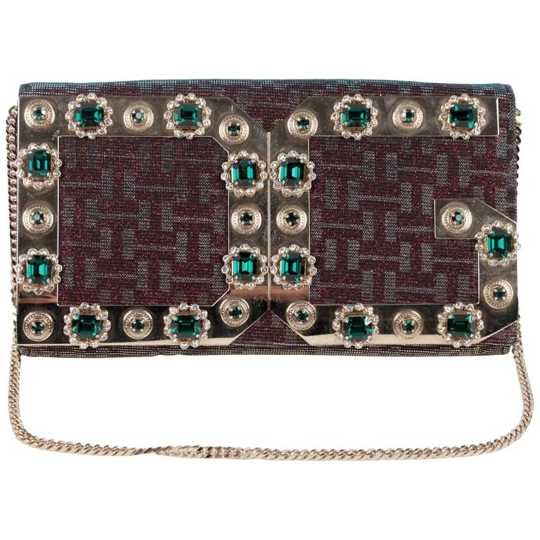 Dolce & Gabbana Iridescent Embellished Evening Bag Clutch with Chain Strap